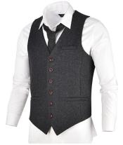 Slim Fit Herringbone Tweed Suit Dark Grey 1920s Vest