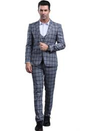 Dark Grey Slim Fitted Tapered Plaid - Window Pane Patterned Suit With