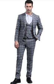 Charcoal Grey Slim Fitted Tapered Plaid - Window Pane Patterned Suit With