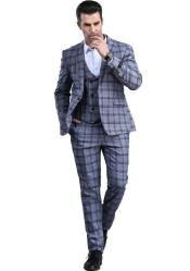Grey Slim Fitted Tapered Window Pane Patterned Suit
