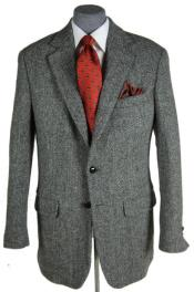 Harris Tweed Sport Coat Grey Herringbone