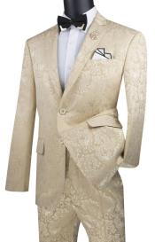Beige Two Flap Front Pockets Color Suit