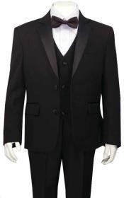 Boys Husky Suit Tuxedo Black