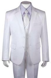 Boys Husky Suit Church Suit White