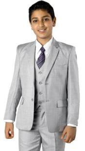 Boys Two Button Boys Husky Suit Fit Suit MGrey