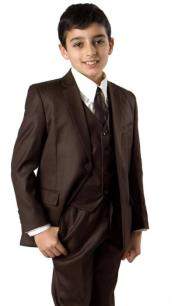 Boys Two Button  Husky Fit Suit Brown