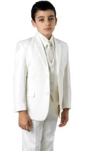 Boys Two Button Boys Husky Suit Fit Suit Off White