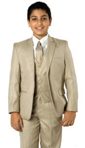 Boys Two Button Boys Husky Suit Fit Suit Beige