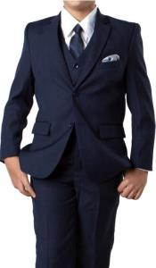 Boys Two Button Boys Husky Suit Fit Suit With V-Neck Navy