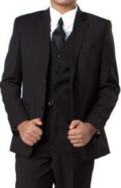 Boys Two Button Boys Husky Suit Fit Suit With V-Neck Black
