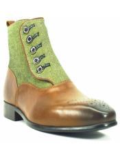 Mens Green Dress Shoes Mens Carrucci Button-up Denim Zip Boots