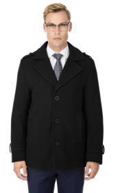 Short Length Coat Wool Fabric - Short Designer Mens Wool Peacoat Sale Carcoat Black