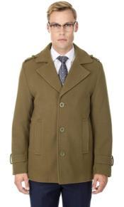 Short Length Coat Wool Fabric - Short Designer Mens Wool Peacoat Sale Carcoat Brown