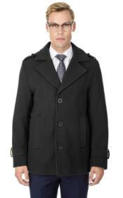 Short Length Coat Wool Fabric - Short Designer Mens Wool Peacoat Sale Carcoat Grey