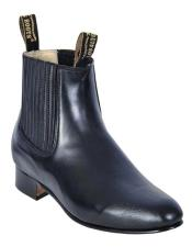 Los Altos Mens Charro Botin Short Ankle Deer Leather Boots