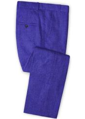 Linen Fabric Pants Flat Front Cobalt Blue
