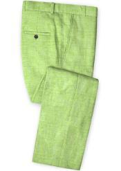 Mens Linen Fabric Pants Flat Front Spring Green