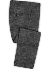 Linen Fabric Pants Flat Front Black