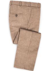 Mens Linen Fabric Pants Flat Front Spring Rose