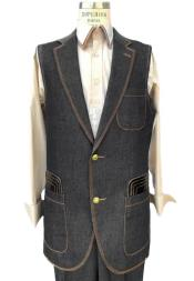 Mens Black Button Fastener Sleeveless Denim Suit