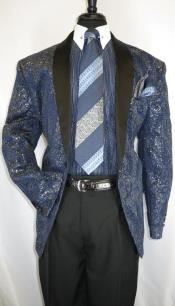 Mens Navy - Gold 2 Buttons Suit Perfect for Prom