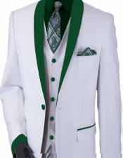 and Green Lapel Suit - Tuxedo Vested 3 Pieces