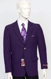 Poplin Fabric Pacelli Solid 2 Button Purple Blazer BLAIR-70049