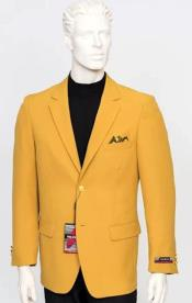 Poplin Fabric Pacelli Solid 2 Button Mustard Blazer BLAIR-70027