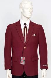Poplin Fabric Pacelli Solid 2 Button Burgundy Blazer BLAIR-70006