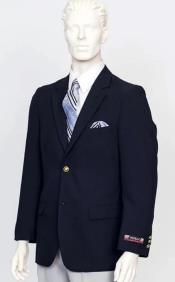 Poplin Fabric Pacelli Solid 2 Button Navy Blazer BLAIR-70001