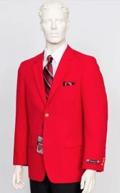 Poplin Fabric Pacelli Solid 2 Button Red Blazer BLAIR-70008