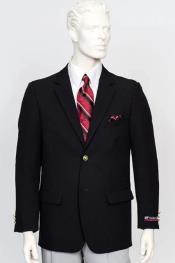 Poplin Fabric Pacelli Solid 2 Button Black Blazer BLAIR-70000