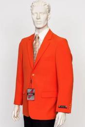 Poplin Fabric Pacelli Solid 2 Button Orange Blazer BLAIR-70019