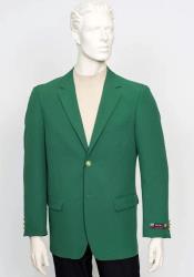 Poplin Fabric Pacelli Solid 2 Button Green Blazer BLAIR-70014