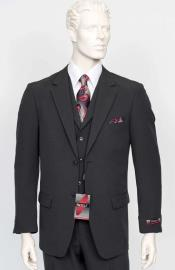 Poplin Fabric Pacelli 3pc Black Suit CAMERON-10000