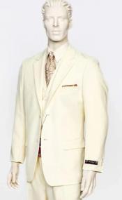 Poplin Fabric Pacelli 3pc Cream Suit CAMERON-10005