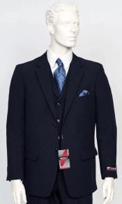 Poplin Fabric Pacelli 3pc Navy Suit CAMERON-10001