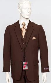 Poplin Fabric Pacelli 3pc Brown Suit CAMERON-10002