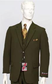 Poplin Fabric Pacelli 3pc Green Suit CAMERON-10004