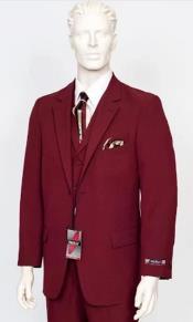 Poplin Fabric Pacelli 3pc Burgundy Suit CAMERON-10006