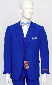 Poplin Fabric Pacelli 3pc Royal Blue Suit CAMERON-10011