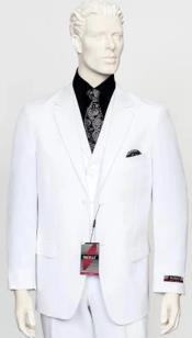 Poplin Fabric Pacelli 3pc White Suit CAMERON-10015