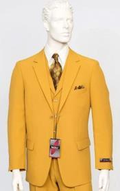 Poplin Fabric Pacelli 3pc Mustard Suit CAMERON-10027