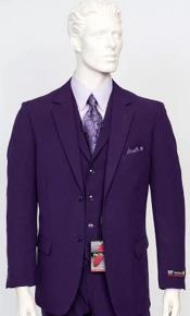 Poplin Fabric Pacelli 3pc Purple Suit CAMERON-10049