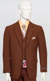 Poplin Fabric Pacelli 3pc Light Brown Suit CAMERON-10052