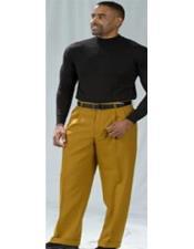Poplin Fabric Pacelli Big and Tall Wide Leg Pants Bronze 810007