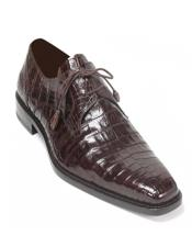 Mens Crocodile Brown Anderson Lace-Up