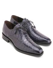 Mens Blue Genuine Crocodile Lace-Up