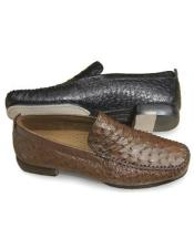 Mens Tabac Stylish Dress Loafer Genuine Ostrich Skin