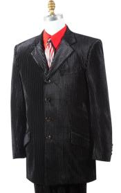Button Mens Suit Velvet Black